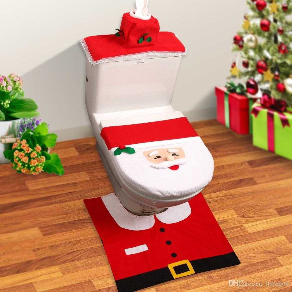 Pleasing Santa Claus Toilet Cover Cute Toilet Seat Cover Set For Customarchery Wood Chair Design Ideas Customarcherynet