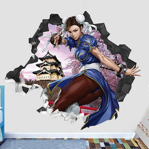 Street Fighter Chun Li Wall Decal Smashed 3d Sticker Vinyl Decor Games