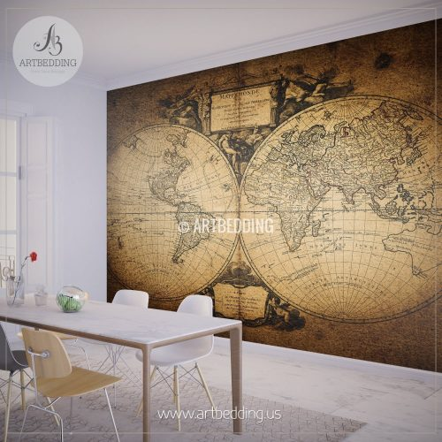 Old World Map Mural.Vintage World Map Wall Mural